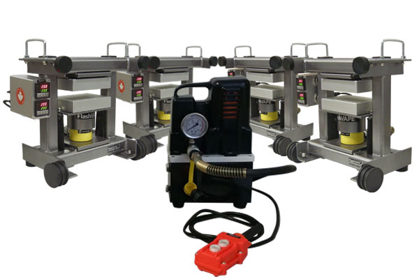 SCALABLE...  multiple FV20R rosin presses can be operated by a single person using one hydraulic pump
